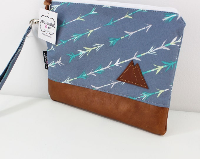 Flat Clutch Large- Grey Arrow with Mountain Patch and PU Leather READY to SHIp