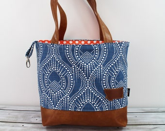 Lulu Large Tote Cobalt Bubbles -READY to SHIP