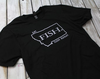 Eat. Fish. Sleep. Repeat. T-Shirt Black