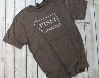 Eat. Fish. Sleep. Repeat. T-Shirt Heather Brown