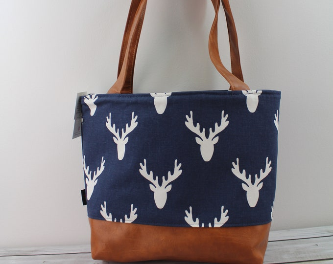 Lulu Large Tote Diaper Bag Navy Deer and PU Leather -READY to SHIp Zipper Closure