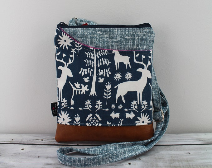 ZOE Messenger Cross Body Sling Bag - Wildlife in Blue with Montana Patch READY to SHIp  Ipad bag