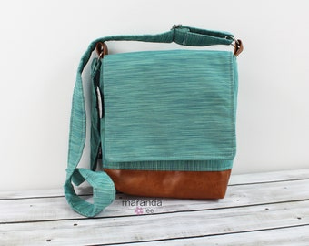 Nori Medium Flap Messenger Slouch Bag with Adjustable Cross Body Bag - Teal Denim - READY to SHIP iPad Bag