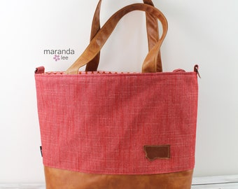 Extra Large Lulu Tote Overnight Red Denim READY to SHIP