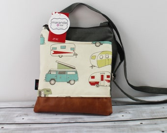 ZOE Messenger Cross Body Sling Bag - Vintage Campers READY to SHIp