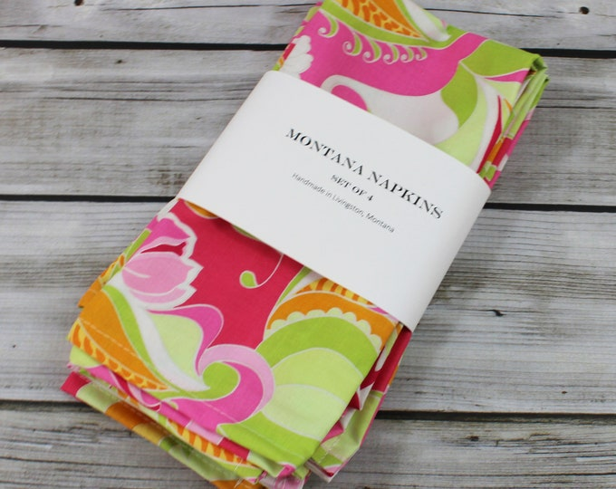 Napkins set of 4 - PinkFloral - Novelty Table Linens - Limited Availability