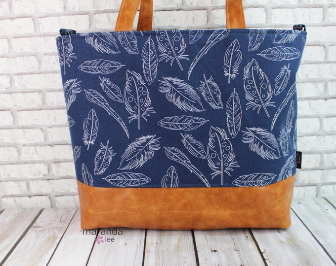 Extra Large Lulu Tote  - Navy Feathers  READY to SHIP