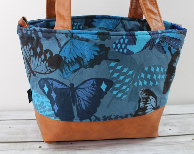 Lulu Medium Tote  Navy Butterflies and PU Leather READY to SHIP - Zipper Closure