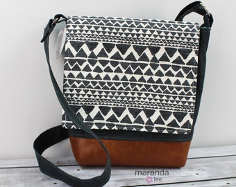 Nori Medium Flap Messenger Slouch Bag with Adjustable Cross Body Bag - Native Trend Charcoal - READY to SHIP iPad Bag