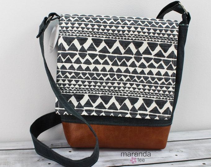 Nori Medium Flap Messenger Slouch Bag with Adjustable Cross Body Bag - Native Trend Charcoal - READY to SHIP iPad Bag