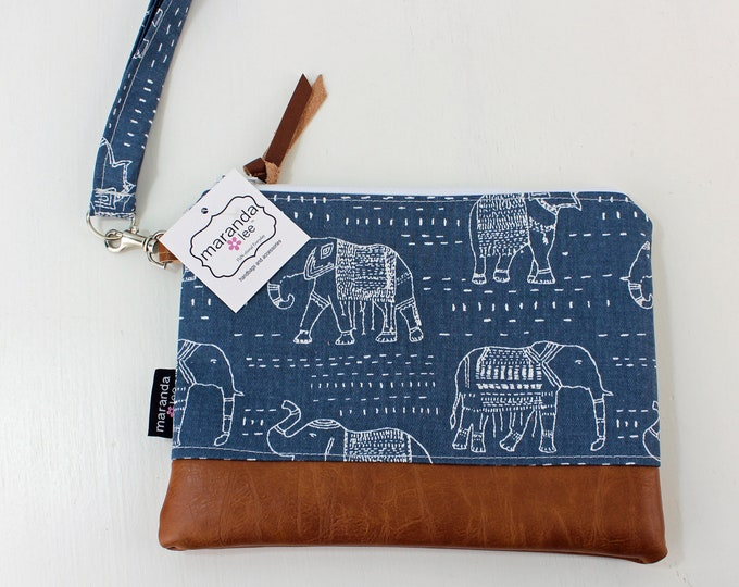 Flat Clutch Large- Blue Elephant with PU Leather READY to SHIp