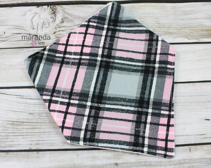 Bandana Bib -Pink Plaid-READY to SHIP