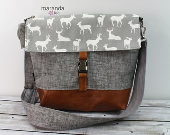Lulu Large Flap Messenger Satchel  Deer Gray READY to SHIP