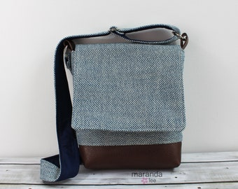 Nori Medium Flap Messenger Slouch Bag with Adjustable Cross Body Bag - Navy Tweed - READY to SHIP iPad Bag