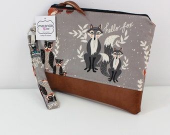 Flat Clutch Large-Hello Racoon and PU Leather READY to SHIp
