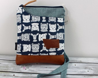 ZOE Messenger Woodland in Blue with Montana Patch READY to SHIp