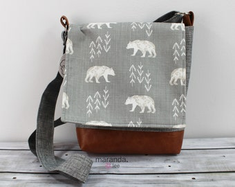 Nori Medium Flap Messenger Slouch Bag with Adjustable Cross Body Bag - Bear Cubs - READY to SHIP iPad Bag