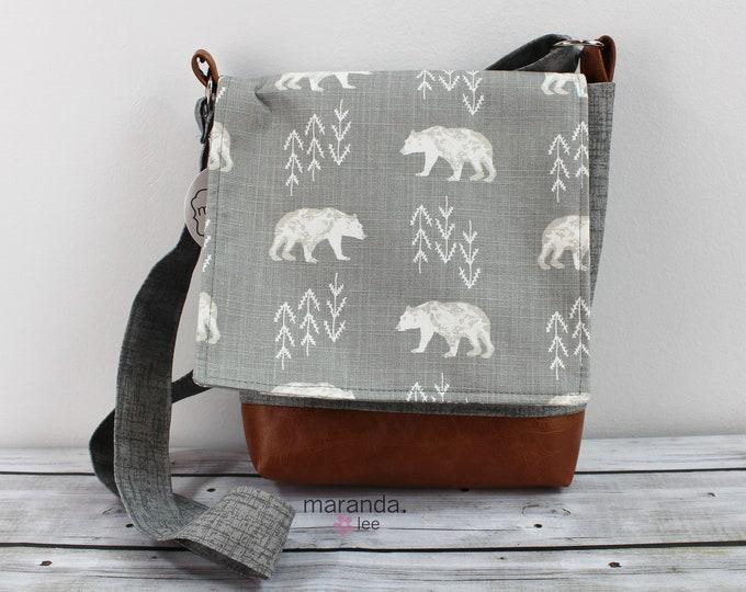 Nori Medium Flap Messenger Slouch Bag with Adjustable Cross Body Bag - Bear Cubs - READY to SHIP iPad Bag