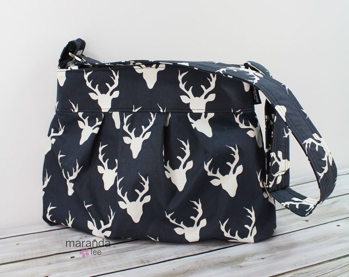 Emma Diaper Bag Purse Medium Antlers Black  READY to SHIP