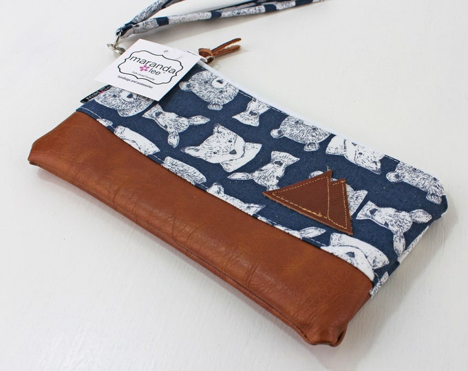 Flat Clutch -Blue Bears with Mountain Patch READY to SHIP