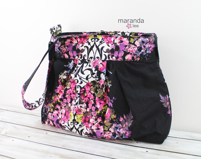 Emma Large Bag Purple Pink Flowers -READY to SHIP