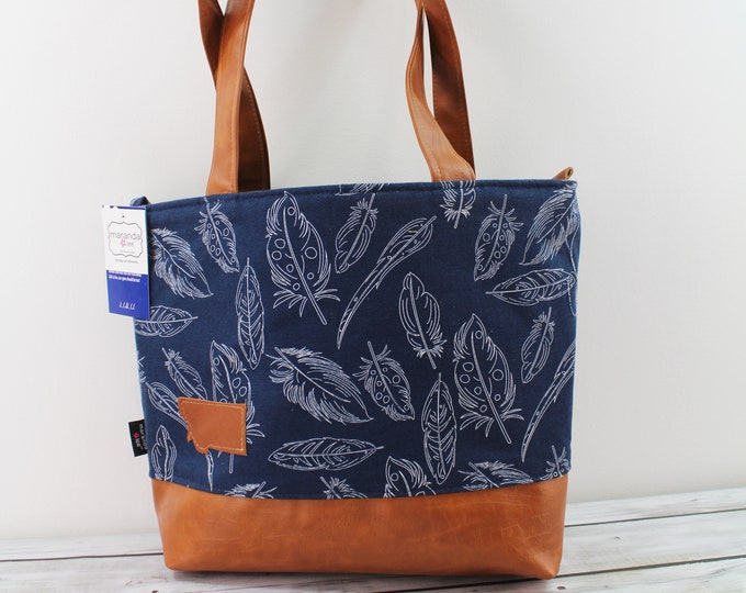 Lulu Large Tote Diaper Bag Navy Feathers and PU Leather -READY to SHIp Zipper Closure
