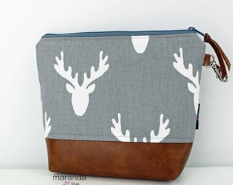 AVA Clutch - 3 Sizes - Grey Antlers READY to SHIp