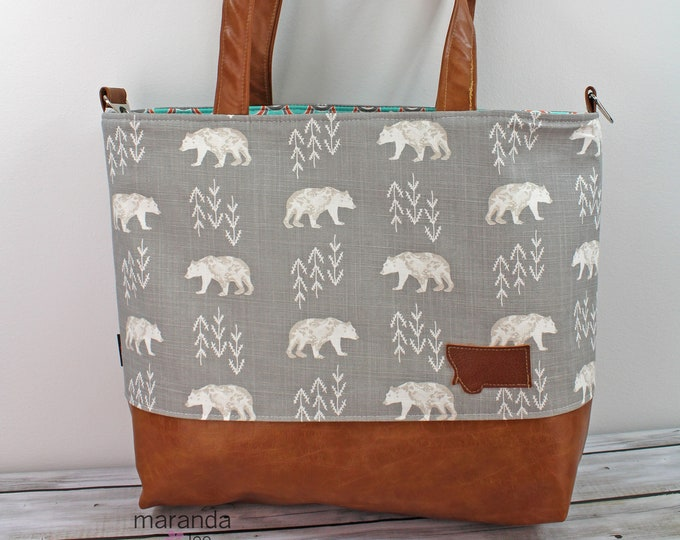 Extra Large Lulu Tote  Bear Cubs and PU Leather READY to SHIP