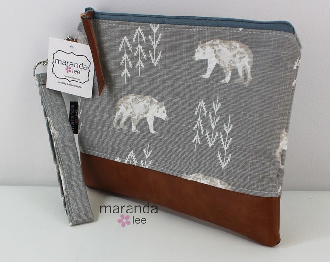 Flat Clutch Large- Bear with PU Leather READY to SHIp