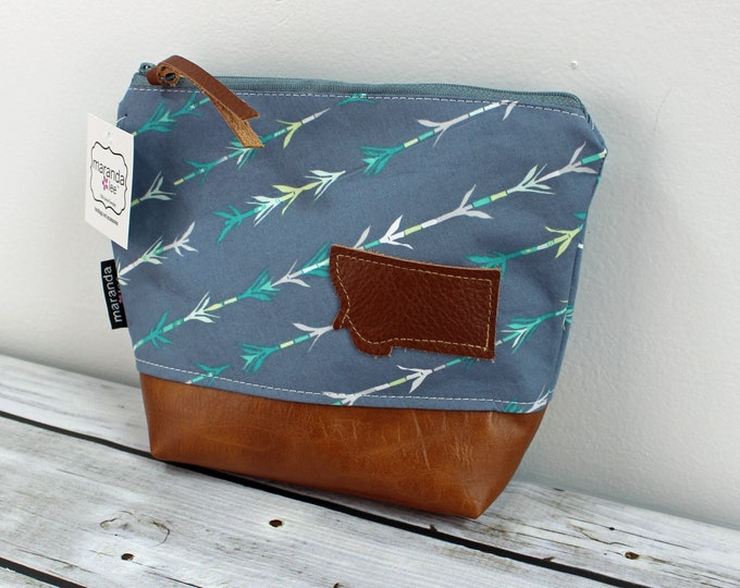 AVA Clutch -Arrows Gray with PU Leather  READy to SHIP
