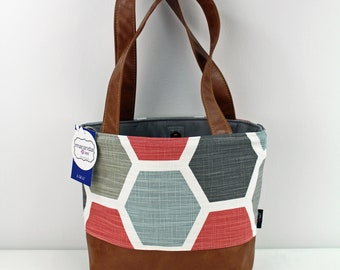 Lulu Medium Tote  Bag - Hive with PU Leather - READY to SHIP