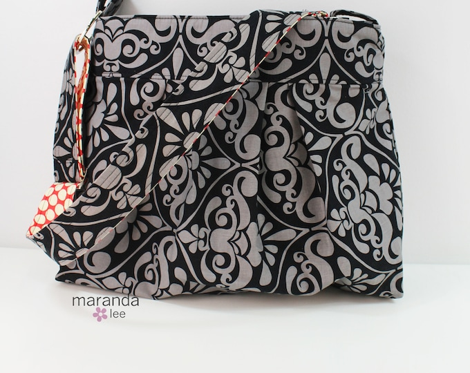 Emma Diaper bag Large - Gray Damask - READY to SHIP