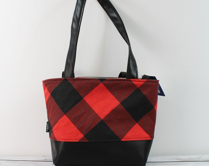 Lulu Medium Tote in Red Buffalo Check Plaid READy to SHIp