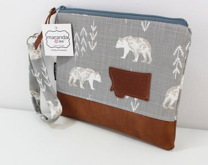Flat Clutch Large- Bear with Montana Patch and PU Leather READY to SHIp