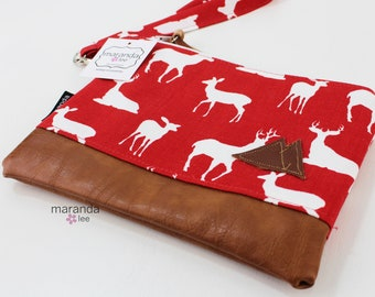 Flat Clutch Large- Red Deer with Mountain Patch and PU Leather READY to SHIp