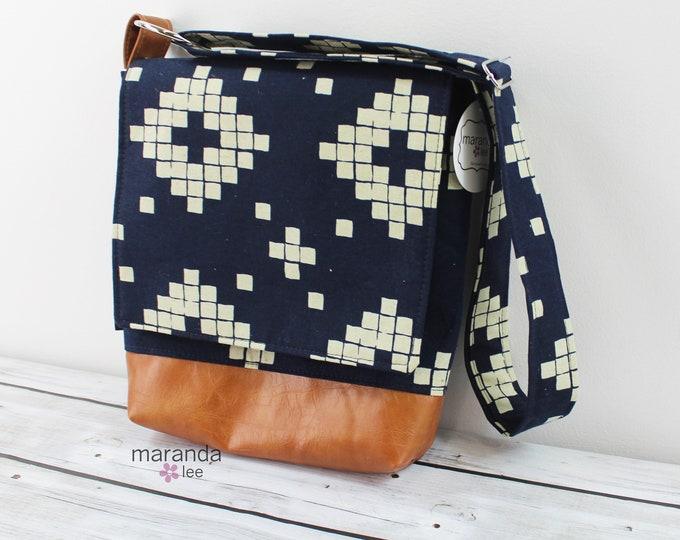Nori Medium Flap Messenger  Indigo Tiles - READY to SHIP