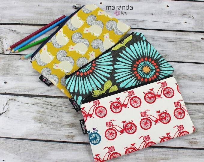 Pencil Case - Medium Clutch - Bikes or Flowers- Ready to Ship  Zipper Pouch School Supplies - Gift