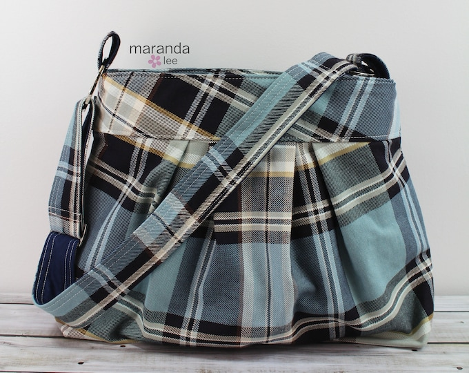 Emma Large in Blue Plaid -READY to SHIP