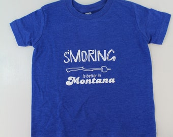 SMoring is Better in Montana Kids T Shirt Blue