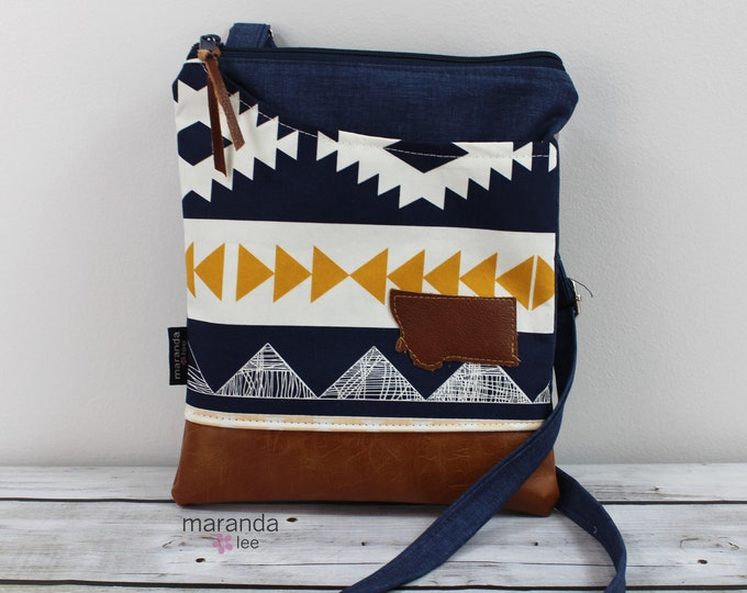 ZOE Messenger Cross Body Sling Bag - Arizona with Montana Patch and PU Leather READY to SHIp