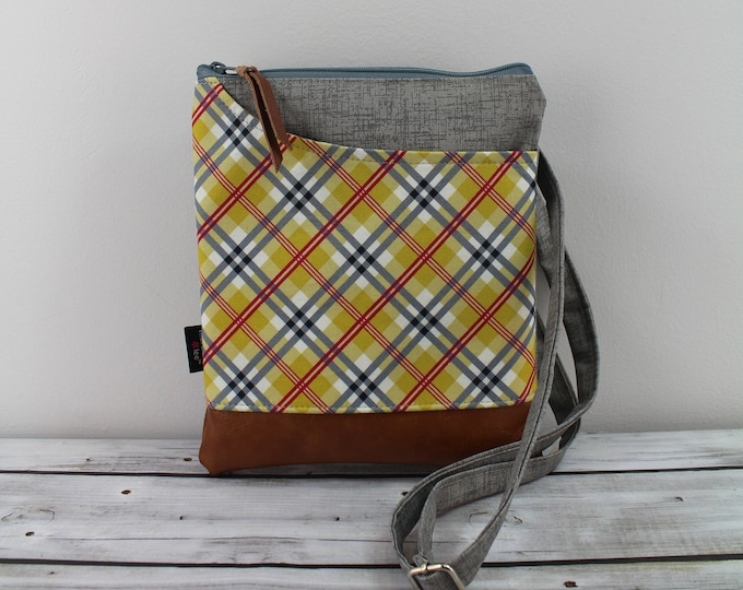 ZOE Messenger Cross Body Sling Bag - Yellow Plaid and PU Leather READY to SHIp