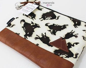 Flat Clutch Large- Cowboys with Mountain Patch and PU Leather READY to SHIp