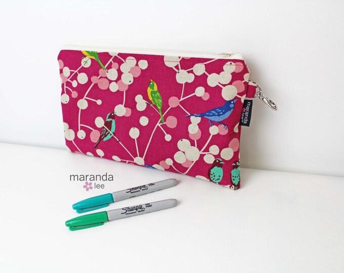 Pencil Case - Medium Clutch - READY to SHIP - Bushy Birds Pink Echino