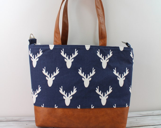 Extra Large Lulu Tote - Navy Deer and PU Leather - READY to SHIP Zipper Closure