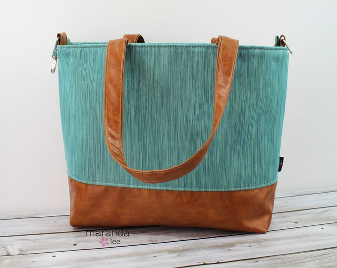 Extra Large Lulu Tote Teal Denim READY to SHIP