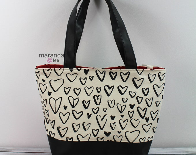 Lulu Large Tote Black Hearts  READY to SHIP