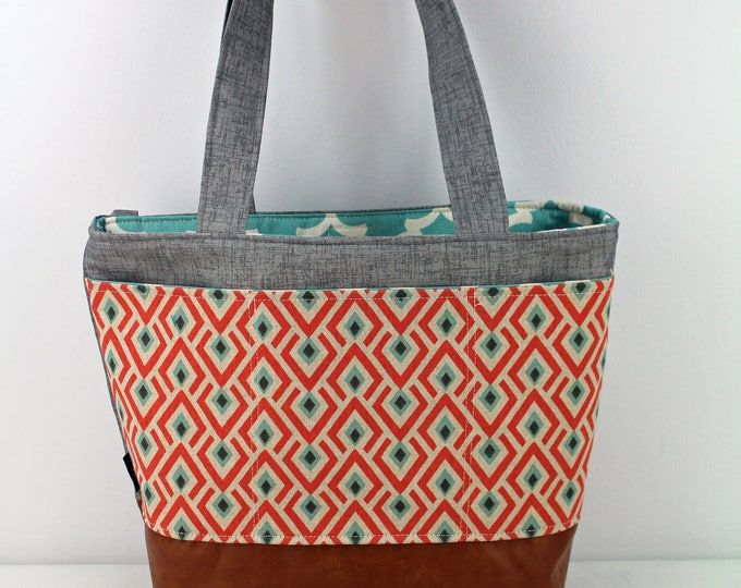 Lulu Large Tote Diaper Bag On Point Coral with Grey Denim  READY to SHIP Exterior pockets