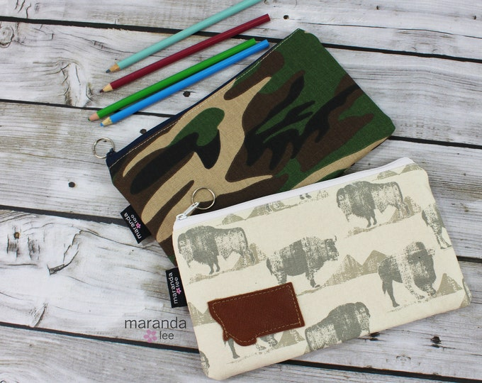 Pencil Case - Medium Clutch - Camo or Bison Ready to Ship