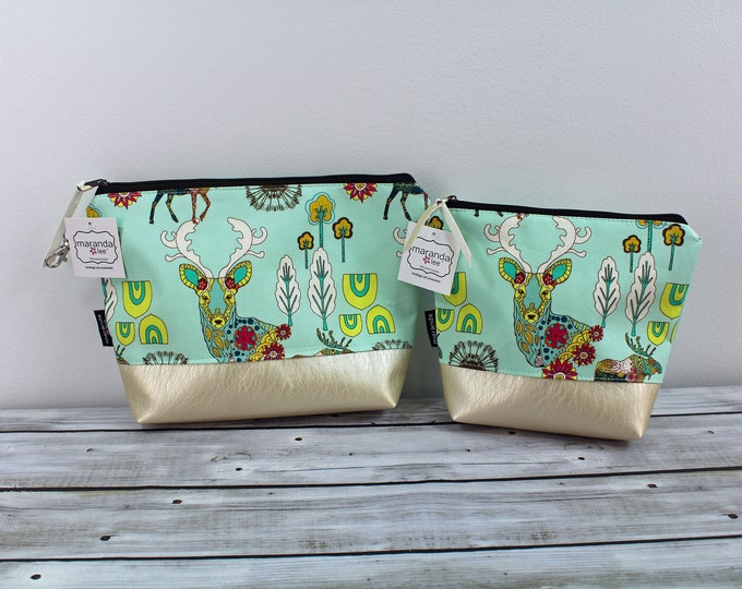 AVA Clutch -Wildlife with PU Leather  READy to SHIP  Cosmetic Diaper bag Travel Make Up Zipper Pouch