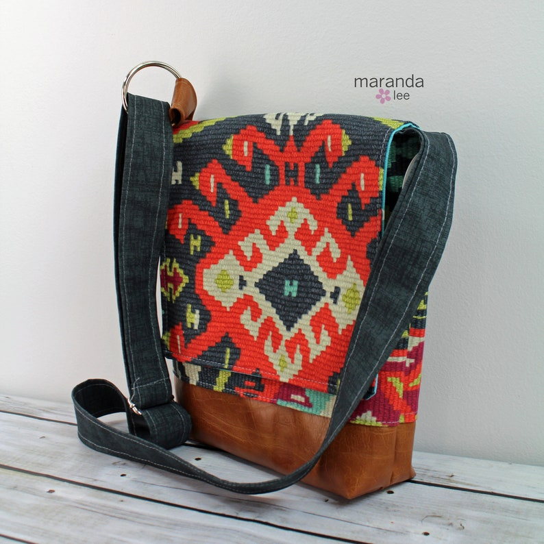 READY to SHIP iPad Bag with Adjustable Cross Body Strap Nori Medium Flap Messenger Slouch Bag Fiesta